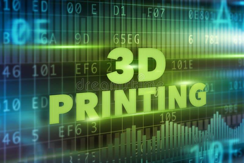 begrepp för printing 3D royaltyfri illustrationer
