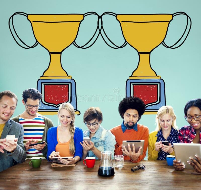 Begrepp för pris för belöning för motivationtroféframgång vinnande arkivbilder