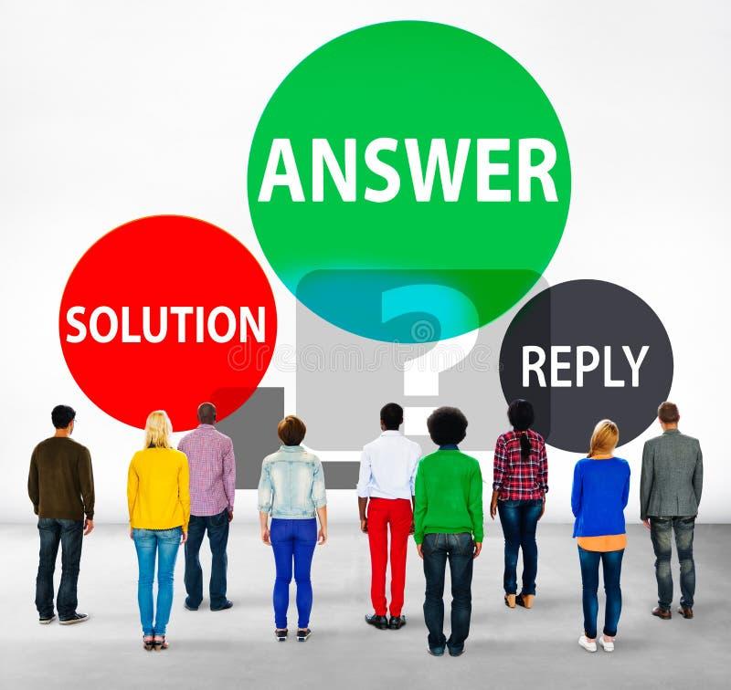 Begrepp för problem för svar för svarslösningssvar royaltyfria foton