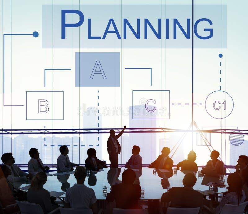 Begrepp för process för lösningar för planläggningsstrategidiskussion royaltyfri foto