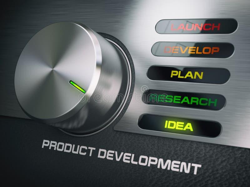 Begrepp för produktdevelopmendcirkulering Knopp med etapper av produkt D royaltyfri illustrationer