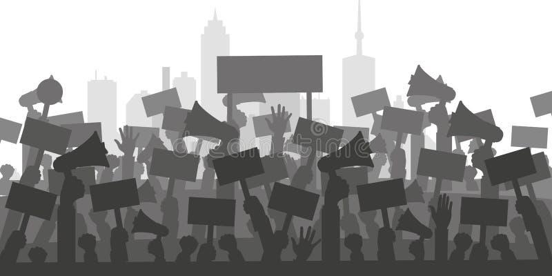 Begrepp för protest, revolution eller konflikt Konturfolkmassa av folkpersoner som protesterar stock illustrationer
