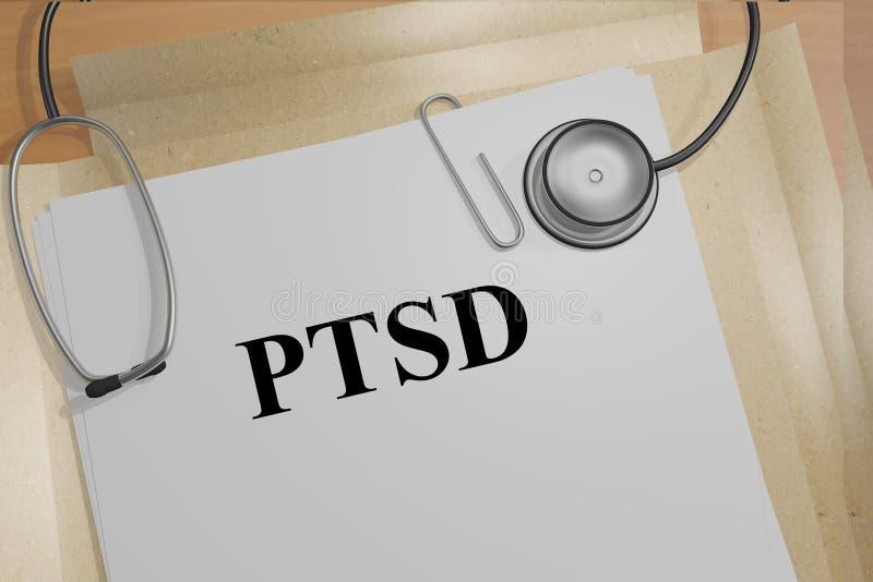 Begrepp för PTSD (oordning för Posttraumatic spänning) stock illustrationer