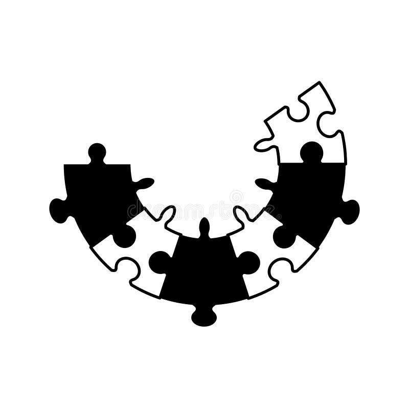 begrepp för pusselfigursågsamarbete arkivbilder