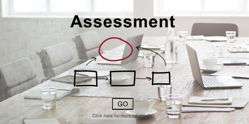 Begrepp för rapport för ledning för bedömningutvärderingsanalys royaltyfria foton