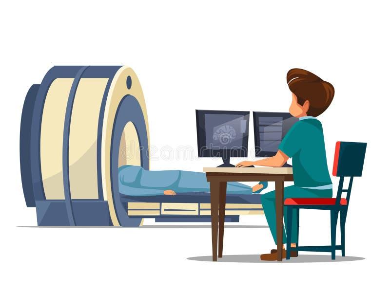 Begrepp för rastrering för tomography för mri för vektortecknad filmct stock illustrationer