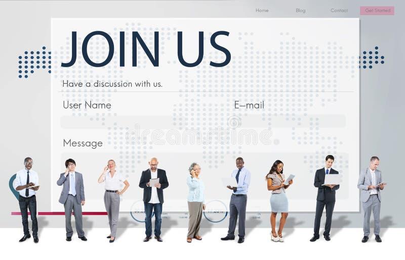 Begrepp för registerförfrågningsonline-webbsida royaltyfria foton