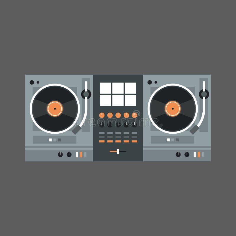 Begrepp för registreringsapparat för modern musik för Dj-blandaresymbol vektor illustrationer
