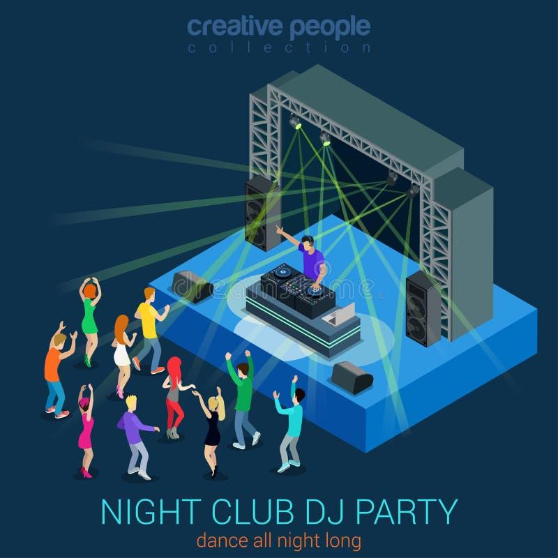 Begrepp för rengöringsduk för lägenhet 3d för nattklubbdiscjockeyparti isometriskt infographic stock illustrationer
