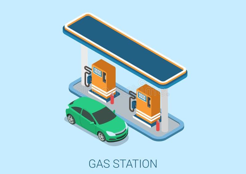 Begrepp för rengöringsduk för lägenhet 3d för station för gasbensinpåfyllning isometriskt royaltyfri illustrationer