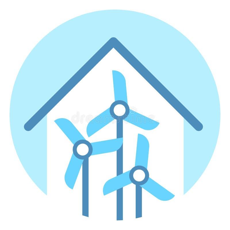 Begrepp för resurs för alternativ energi för symbol för vindturbin vektor illustrationer