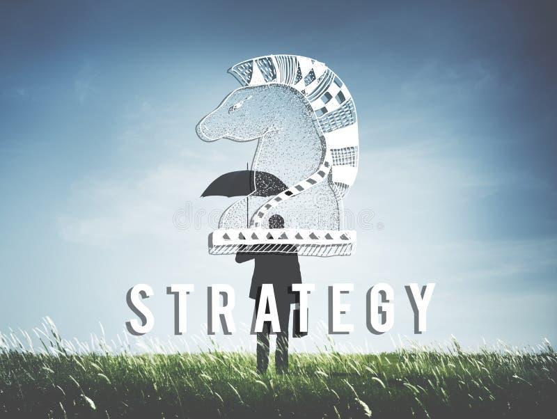 Begrepp för riddareChess Piece Strategy diagram royaltyfria bilder