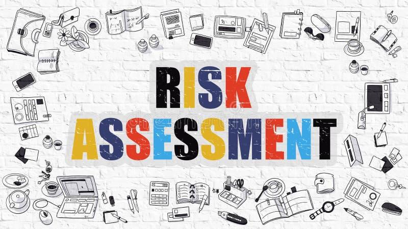 Begrepp för riskbedömning Flerfärgat på vita Brickwall royaltyfri illustrationer