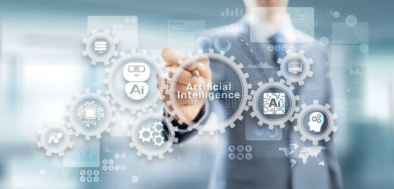 Begrepp för Robotisation och för automation för maskin för konstgjord intelligens för AI djupt lärande på den faktiska skärmen arkivfoton