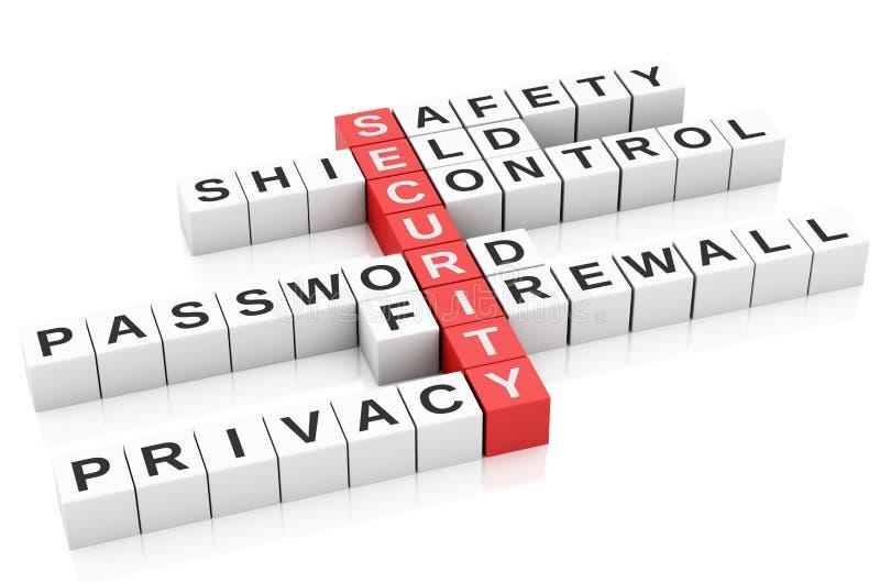 begrepp för säkerhet 3d Korsord med bokstäver stock illustrationer