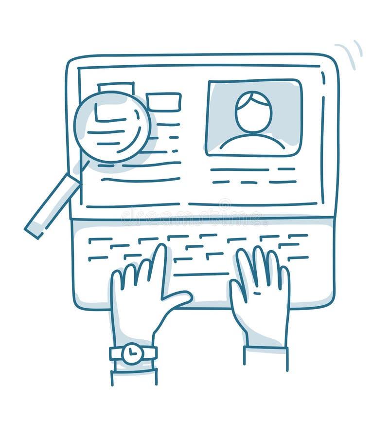 Begrepp för sökande av den yrkesmässiga personalen som analyserar meritförteckningen stock illustrationer