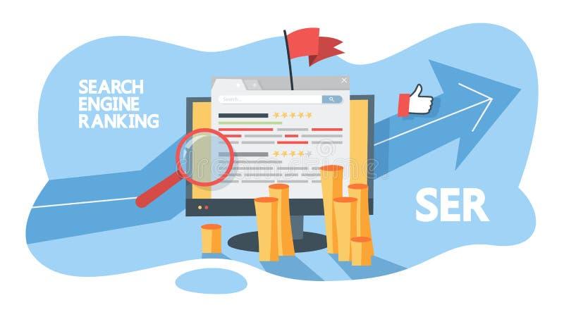 Begrepp för sökandemotorrang Utvärdera webbsidan stock illustrationer