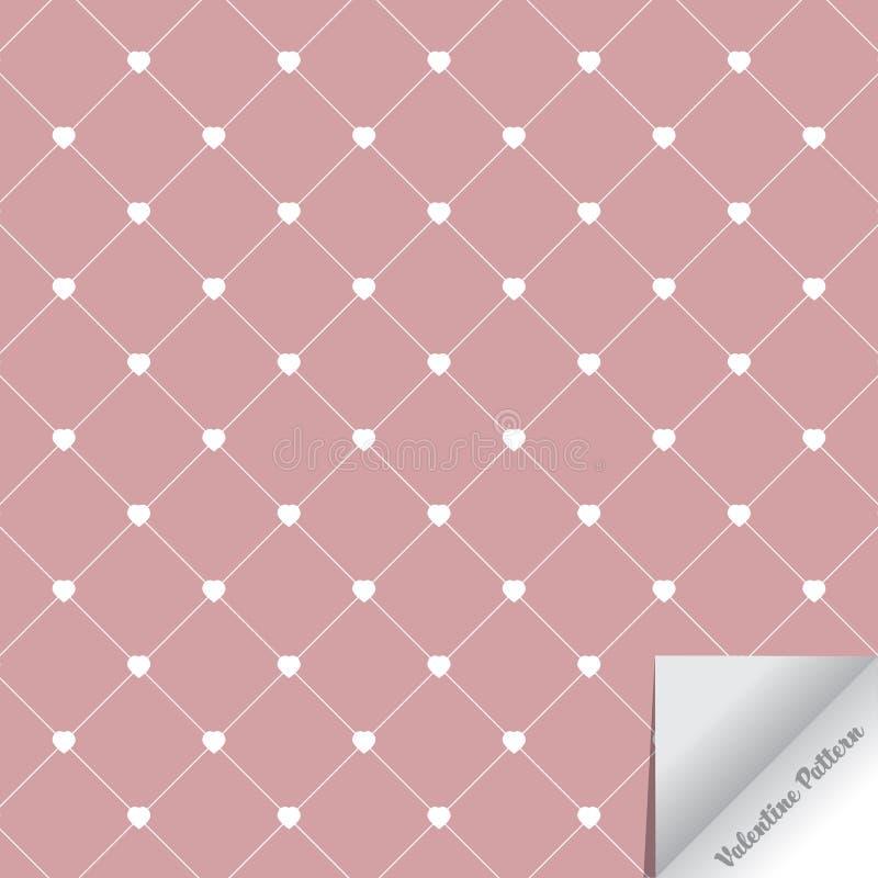 Begrepp för ` s för vektormodellvalentin abstrakt bakgrund Upprepa geometriska tegelplattor med abstrakt hjärta och romber royaltyfri illustrationer