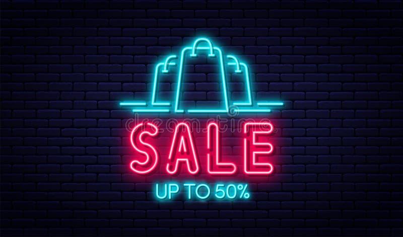 Begrepp för Sale neontecken, försäljnings- och rabatt Ljust och glödande neontecken för e-kommers, annonsering, baner, affischtav stock illustrationer