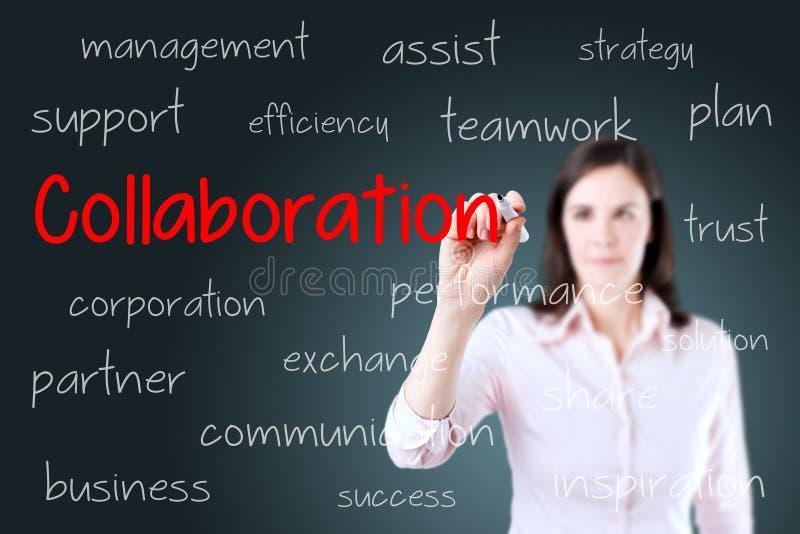 Begrepp för samarbete för handstil för affärskvinna background card congratulation invitation royaltyfri fotografi