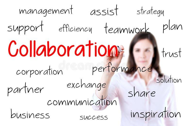 Begrepp för samarbete för handstil för affärskvinna Isolator royaltyfri foto