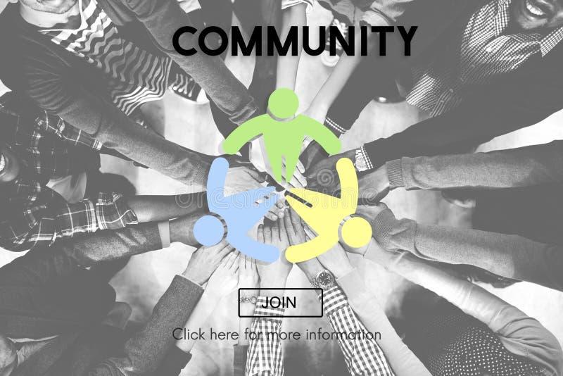 Begrepp för samhälle för nätverk för social grupp för gemenskap arkivbilder