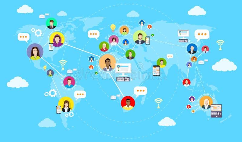 Begrepp för samkvämMedia Communication världskarta stock illustrationer