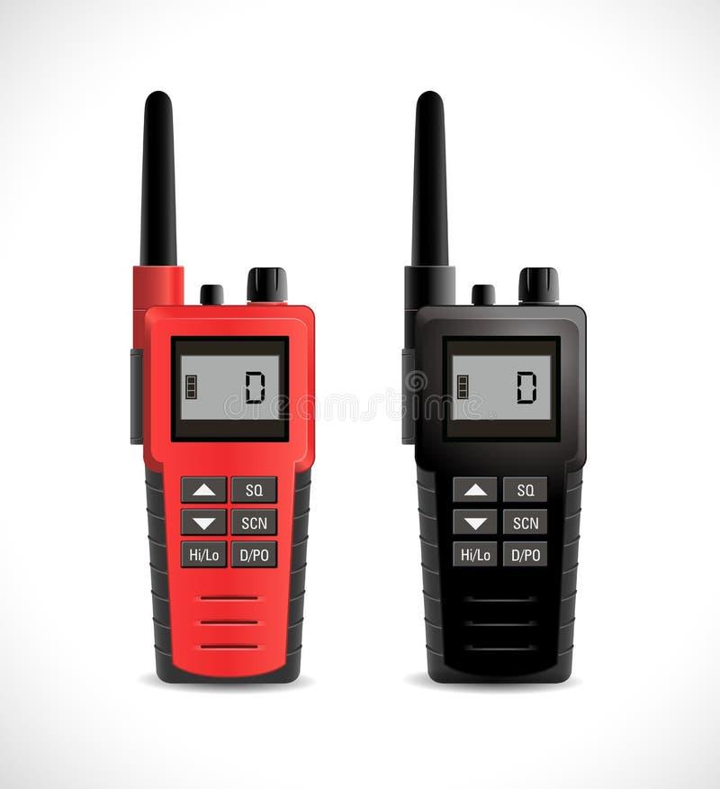 Begrepp för satellit- kommunikationer - walkietalkieradio stock illustrationer