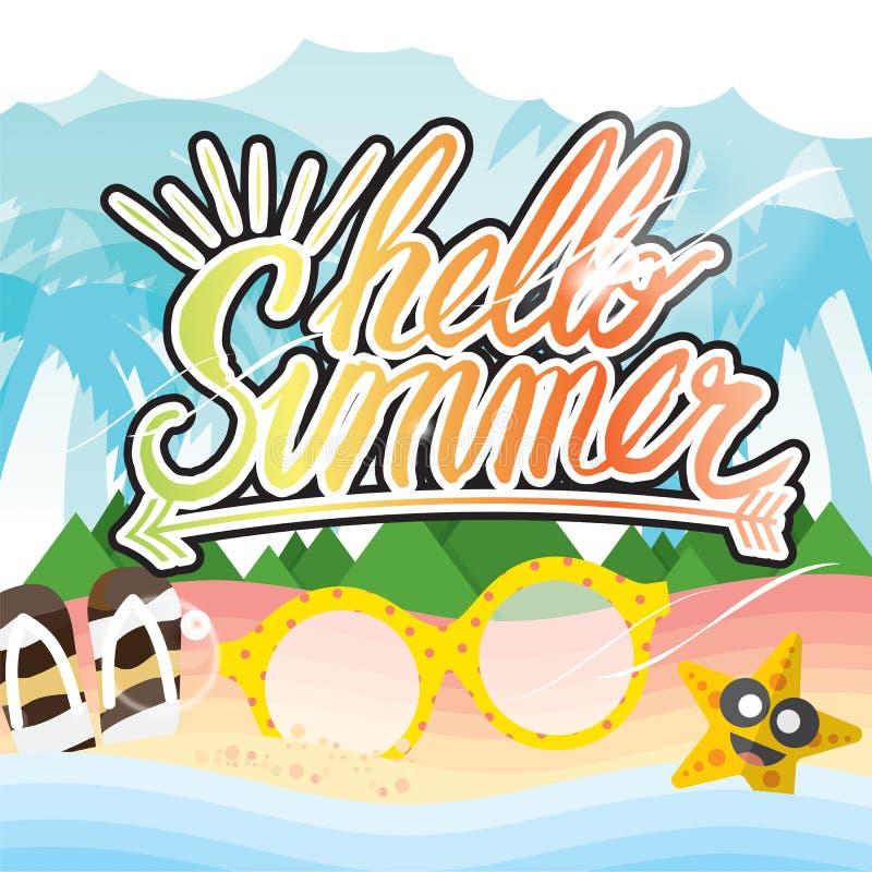 Begrepp för semester för sommar för bokstäver för Hello sommarhand royaltyfri illustrationer