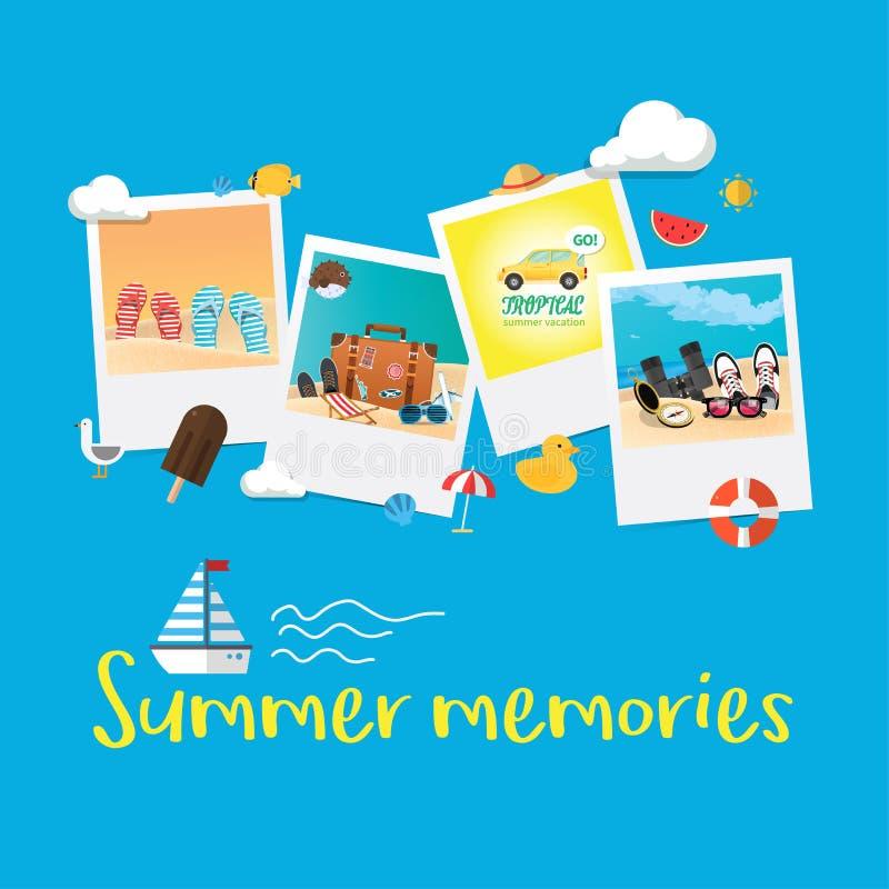Begrepp för semester för sommarferie, abstrakt stilorienteringsillustration stock illustrationer