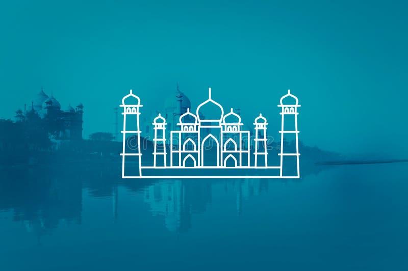Begrepp för semester för Taj Mahal India Seven Wonders loppturism royaltyfri illustrationer