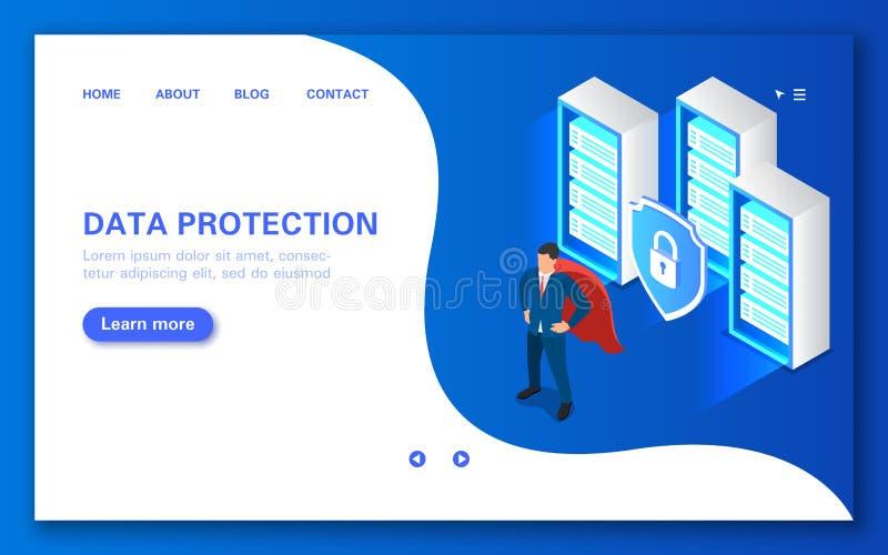 Begrepp för serverdataskydd Programvara som ska skyddas mot en hackerattacker vektor illustrationer