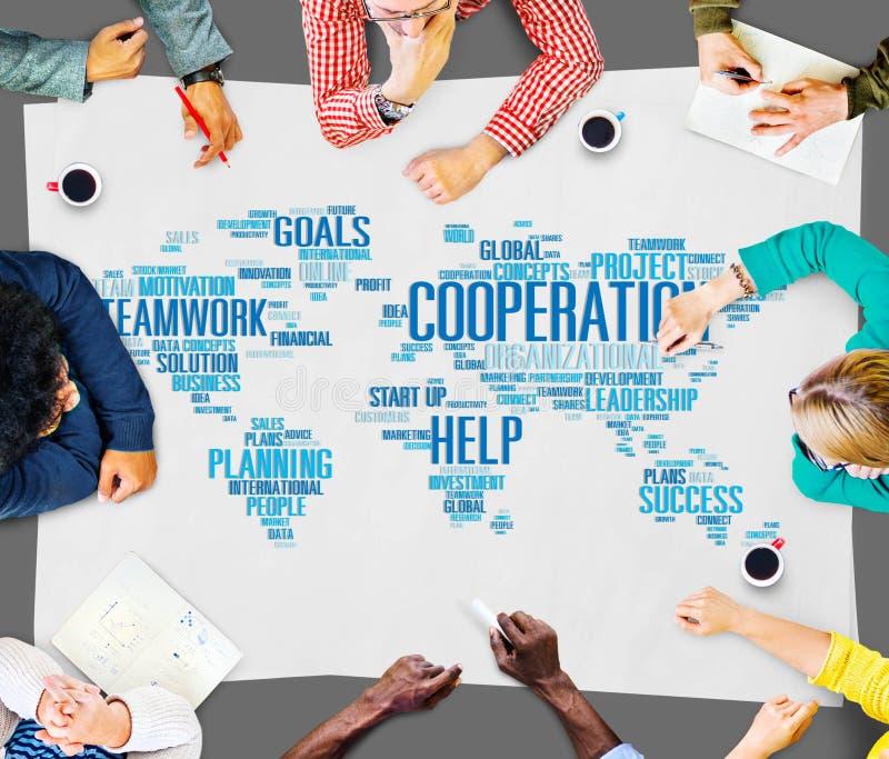Begrepp för service för hjälp för samarbetsteamworkhjälp royaltyfri bild