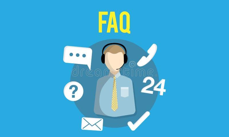 Begrepp för service för kund för handbok för FAQ-förfrågningsfrågor royaltyfri illustrationer