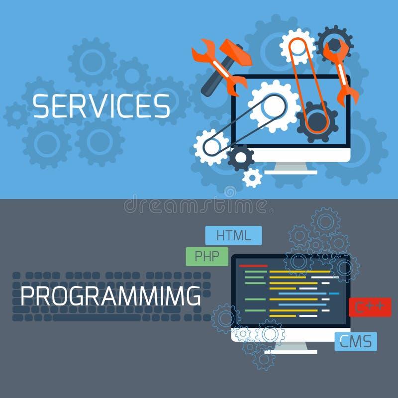 Begrepp för service och att programmera vektor illustrationer