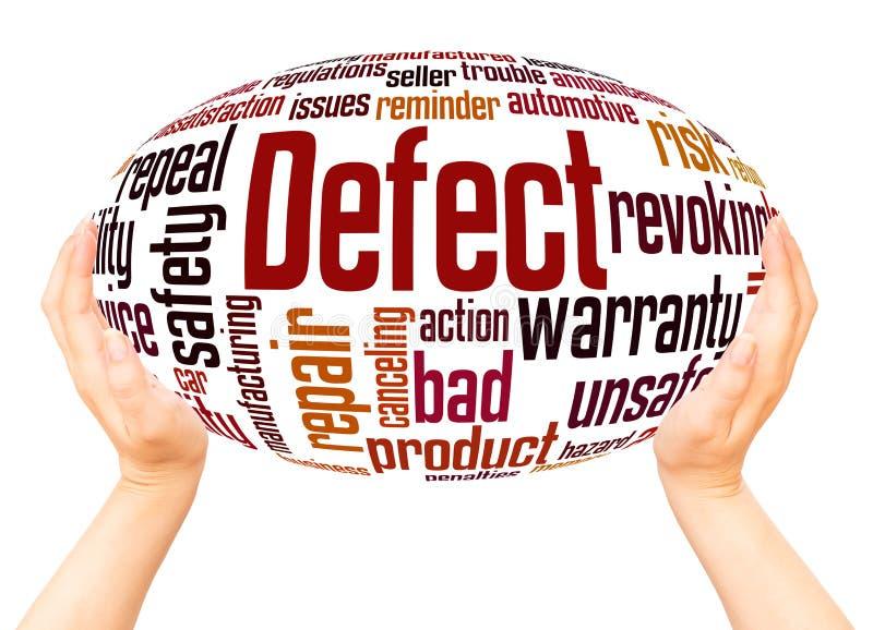 Begrepp för sfär för hand för defektordmoln arkivfoto