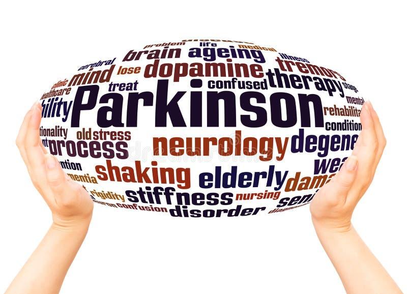 Begrepp för sfär för hand för Parkinson ordmoln stock illustrationer