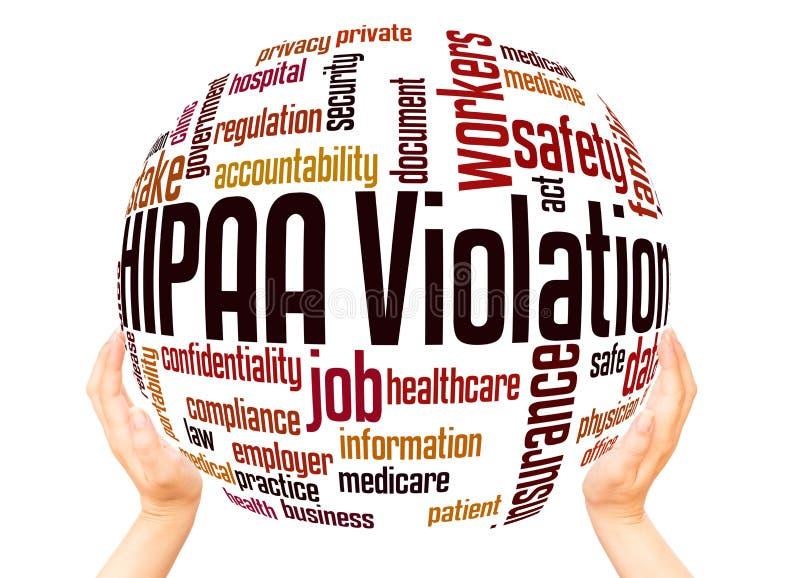 Begrepp för sfär för moln för HIPAA-kränkningord stock illustrationer
