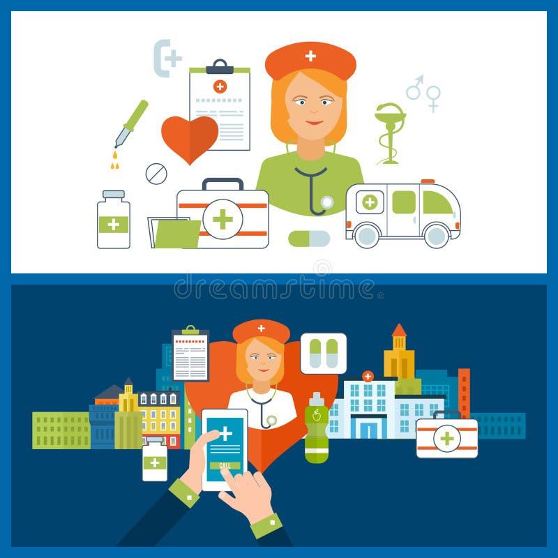 Begrepp för sjukvård, medicinsk hjälp och forskning byggande tecknad white för vektor för handsjukhusillustration stock illustrationer