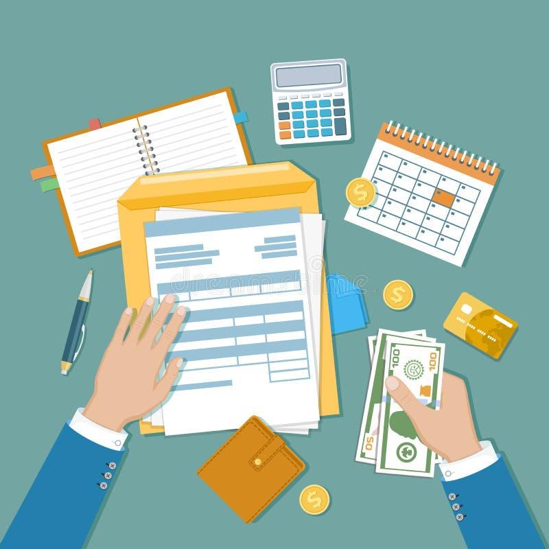 Begrepp för skattbetalning Delstatsregeringskatt, beräkning av självdeklaration Unfilled tom skattform, människahänder med pengar stock illustrationer