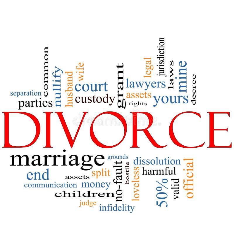 Begrepp för skilsmässaordmoln royaltyfri illustrationer