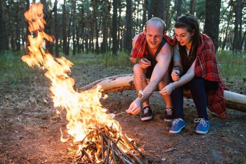 Begrepp för skog för brasa för picknick för parförälskelsenatur arkivbild