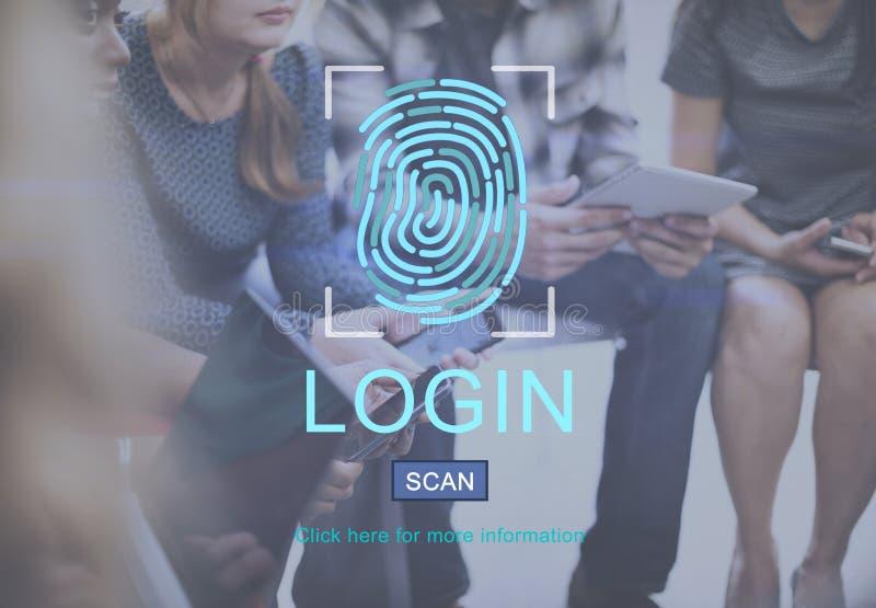 Begrepp för skydd för fingeravtryckteknologidata royaltyfri bild