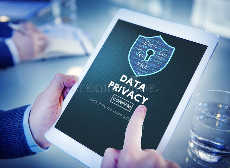 Begrepp för skydd för säkerhet för dataavskildhet online- royaltyfria bilder