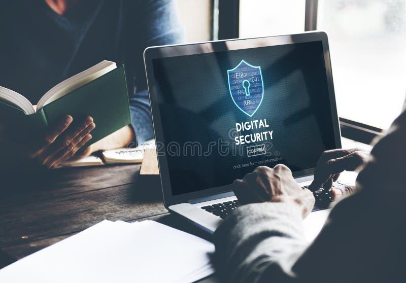 Begrepp för skydd för säkerhet för Digital säkerhetsavskildhet online- arkivfoto