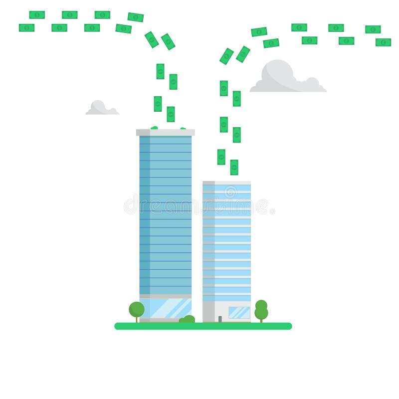 Begrepp för skyskrapafinansmitt Pengarflöden royaltyfri illustrationer