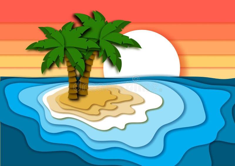 Begrepp för sommarsemester med den ljus tropisk ön, sandstrand, havs- eller havvågor och solnedgånghimmel royaltyfri illustrationer