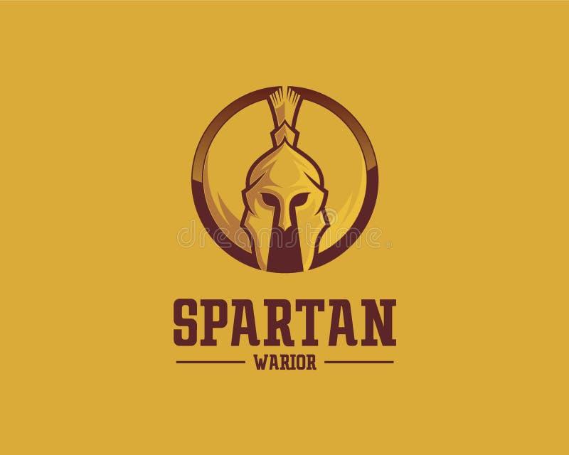 Begrepp för Spartan Warrior logodesign, mall för sportlogovektor vektor illustrationer