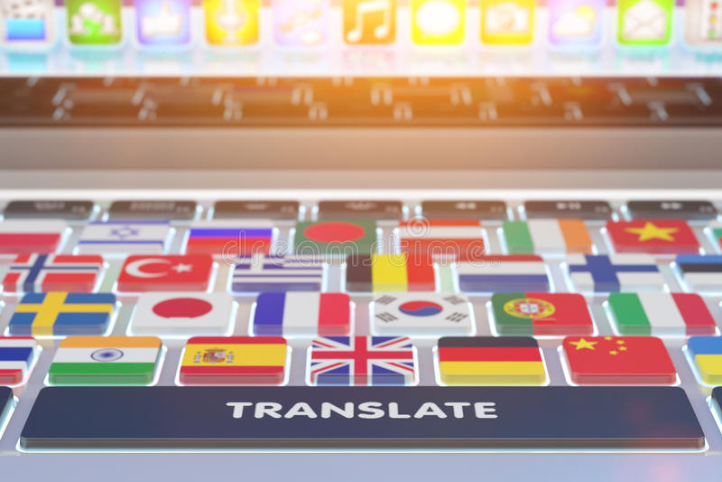 Begrepp för språköversättning stock illustrationer