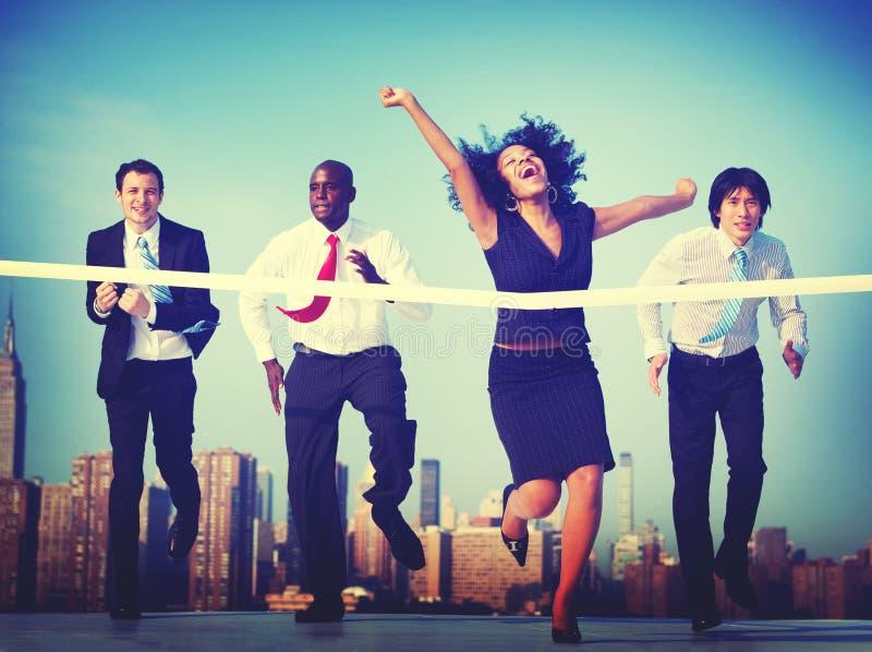 Begrepp för stad för lopp för spring för konkurrens för affärsfolk royaltyfria foton